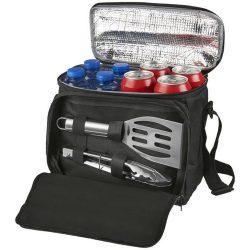 Set barbeque 2 piese si geanta frigorifica, Everestus, ML, 600D poliester si otel inoxidabil, negru, saculet de calatorie inclus