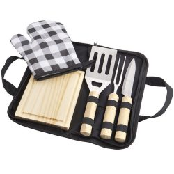 Set barbeque 5 piese, Everestus, WT, 600D poliester, otel inoxidabil, lemn si bumbac, negru