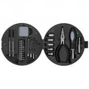 Set de unelte in cutie cu forma de anvelopa, 25 piese, Stac by AleXer, RE01, abs plastic, argintiu, negru, breloc inclus