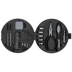 Set de unelte in cutie cu forma de anvelopa, 25 piese, Stac by AleXer, RE01, abs plastic, argintiu, negru