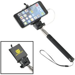 Wire extendable selfie stick, Silicon, Steel and PVC, solid black