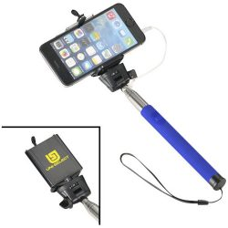 Wire extendable selfie stick, Silicon, Steel and PVC, Royal blue
