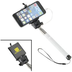 Wire extendable selfie stick, Silicon, Steel and PVC, White