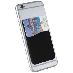 Slim card wallet accessory for smartphones, Silicone, solid black