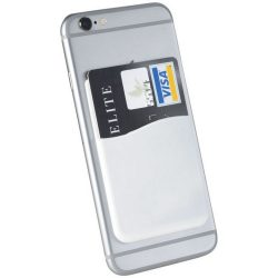 Slim card wallet accessory for smartphones, Silicone, White