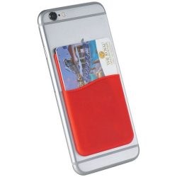 Slim card wallet accessory for smartphones, Silicone, Red
