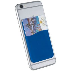 Slim card wallet accessory for smartphones, Silicone, Royal blue