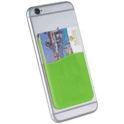 Slim card wallet accessory for smartphones, Silicone, Lime