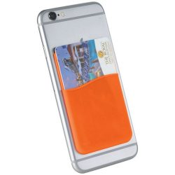 Slim card wallet accessory for smartphones, Silicone, Orange