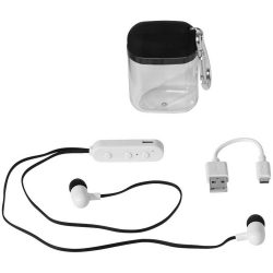 Budget Bluetooth® earbuds, ABS Plastic, solid black