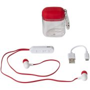 Budget Bluetooth® earbuds, ABS Plastic, Red