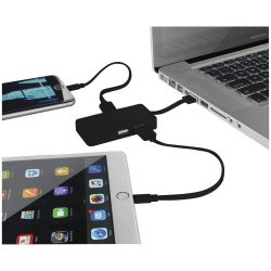 Grid 4-port USB hub with dual cables, Plastic, solid black