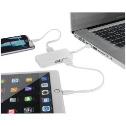 Grid 4-port USB hub with dual cables, Plastic, White