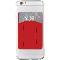 Storee silicone smartphone wallet with finger slot, Silicone, Red
