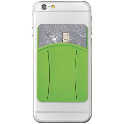 Storee silicone smartphone wallet with finger slot, Silicone, Lime