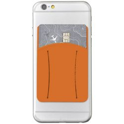 Storee silicone smartphone wallet with finger slot, Silicone, Orange