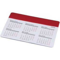 Chart mouse pad with calendar, PP plastic, Red