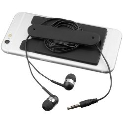 Wired earbuds and silicone phone wallet, Silicone, solid black