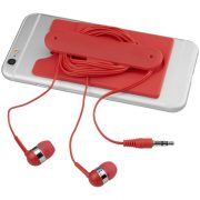 Wired earbuds and silicone phone wallet, Silicone, Red
