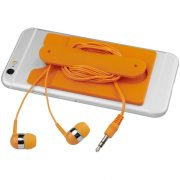 Wired earbuds and silicone phone wallet, Silicone, Orange