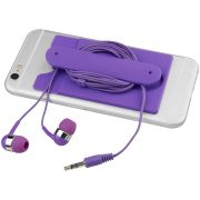 Wired earbuds and silicone phone wallet, Silicone, Purple