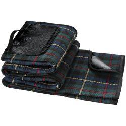 Patura picnic 145x130 cm, rezistenta la apa si praf, Everestus, PK01, tartan, acril, negru, verde, saculet de calatorie inclus