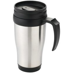 Sanibel 400 ml insulated mug, Stainless steel exterior, plastic interior BPA free, Silver, solid black