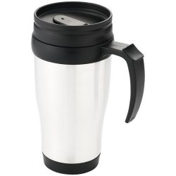 Daytona 440 ml insulated mug, PP plastic, White, solid black