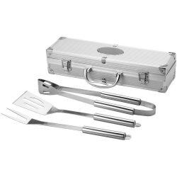 Set barbeque 3 piese, Everestus, SY, otel inoxidabil si aluminiu, argintiu, saculet de calatorie inclus