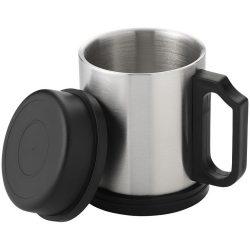 Cana termica 330 ml, Everestus, BW, otel inoxidabil exterior si interior, argintiu, negru