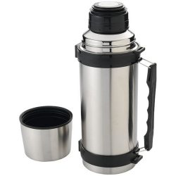 Everest 1000 ml vacuum insulated flask with strap, Stainless steel interior and exterior, Silver, solid black
