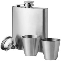 Texas 175 ml hip flask with two shot tumblers, Stainless steel, Silver