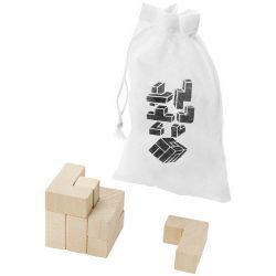 Solfee wooden squares brain teaser with pouch, Wood, Wood
