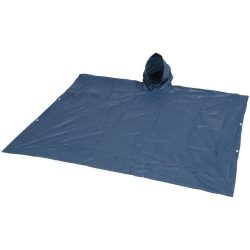 Pilar adjustable rain poncho with pouch, PVC, Navy