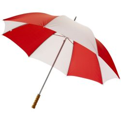 "Karl 30"" umbrella with wooden handle, Polyester, Red,White"