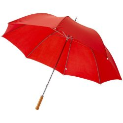 "Karl 30"" umbrella with wooden handle, Polyester, Red"
