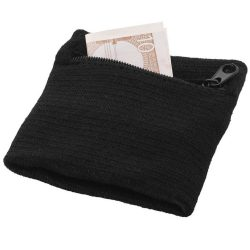 Brisky performance wristband with zippered pocket, Cotton, solid black