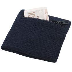 Brisky performance wristband with zippered pocket, Cotton, Navy