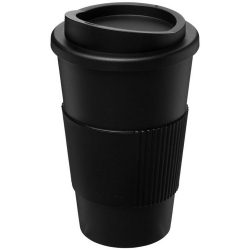 Americano® 350 ml insulated tumbler with grip, PP Plastic, Silicone, solid black