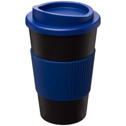 Americano® 350 ml insulated tumbler with grip, PP Plastic, Silicone, solid black, Blue