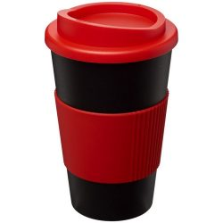 Americano® 350 ml insulated tumbler with grip, PP Plastic, Silicone, solid black, Red