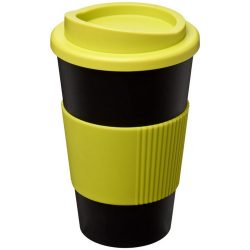 Americano® 350 ml insulated tumbler with grip, PP Plastic, Silicone, solid black,Lime