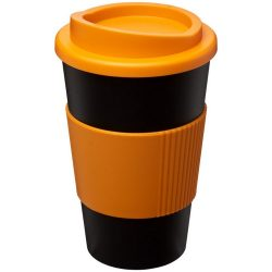 Americano® 350 ml insulated tumbler with grip, PP Plastic, Silicone, solid black,Orange