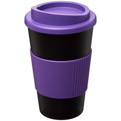 Americano® 350 ml insulated tumbler with grip, PP Plastic, Silicone, solid black,Purple