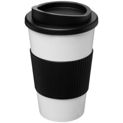 Americano® 350 ml insulated tumbler with grip, PP Plastic, Silicone, White, solid black