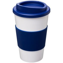 Americano® 350 ml insulated tumbler with grip, PP Plastic, Silicone, White, Blue