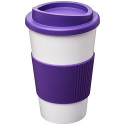 Americano® 350 ml insulated tumbler with grip, PP Plastic, Silicone, White,Purple