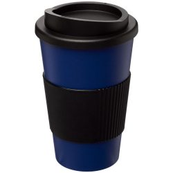 Americano® 350 ml insulated tumbler with grip, PP Plastic, Silicone, Blue, solid black