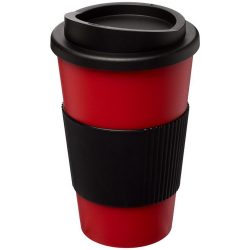 Americano® 350 ml insulated tumbler with grip, PP Plastic, Silicone, Red, solid black