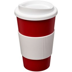 Americano® 350 ml insulated tumbler with grip, PP Plastic, Silicone, Red,White